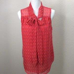 Daniel Rainn Coral Sleeveless Blouse Neck Tie